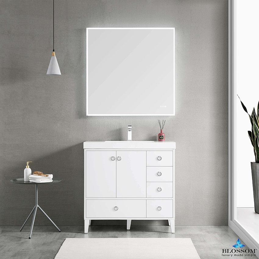 Blossom LYON 36 Inch Color Matte White Bathroom Vanity