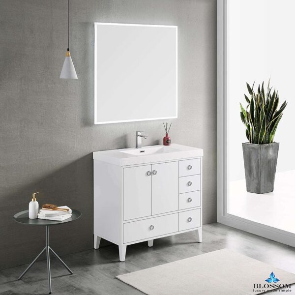 Blossom LYON 36 Inch Color Matte White Bathroom Vanity