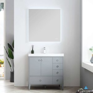 Blossom LYON 36 Inch Color Metal Grey Bathroom Vanity