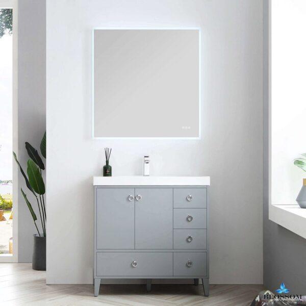 Blossom LYON 36 Inch Color Metal Grey Bathroom Vanity