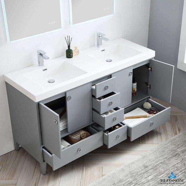 Blossom LYON 60 Inch Freestanding Double Bathroom Vanity Color Metal Grey