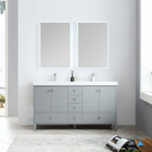 Blossom LYON 60 Inch Freestanding Double Bathroom Vanity Color Metal Grey