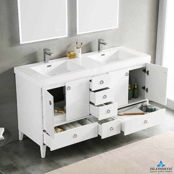 Blossom LYON 60 Inch Freestanding Double Bathroom Vanity White Color