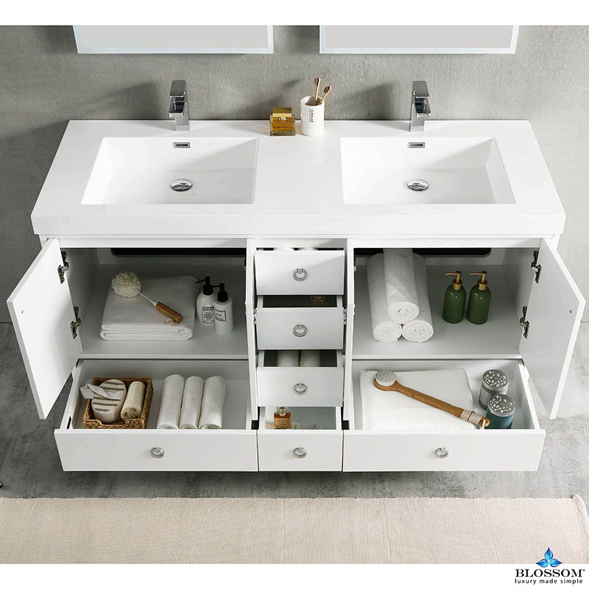 Blossom Lyon 60 Inch Freestanding White, Bathroom Vanities Cincinnati Ohio