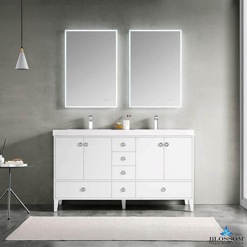Blossom Lyon 60 Inch Freestanding White Color Double Bathroom Vanity