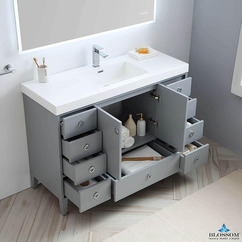 Blossom Lyon 48 Inch Single Modern Bathroom Vanity Color Metal Grey