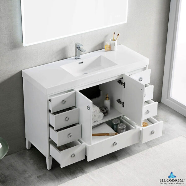 Blossom Lyon 48 Inch Single Bathroom Vanity White Color