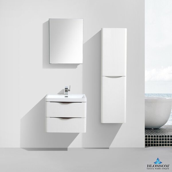 Blossom MADRID 24 Inch Color White Wood Floating Bathroom Cabinet _