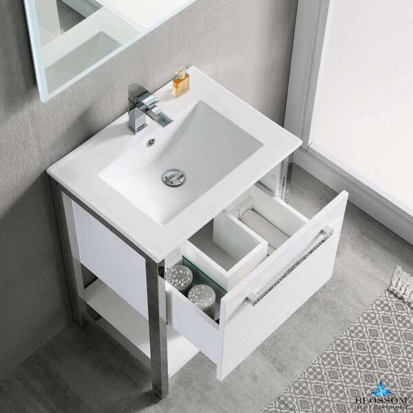 Blossom RIGA 24 Inch Modern Bathroom Cabinet Color Glossy White