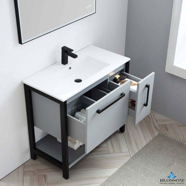 Blossom RIGA 36 Inch Bathroom Vanity Metal Grey With Ceramic Sink