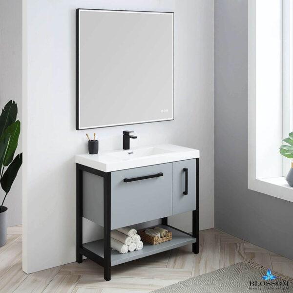 Blossom RIGA 36 Inch Bathroom Vanity Metal Grey