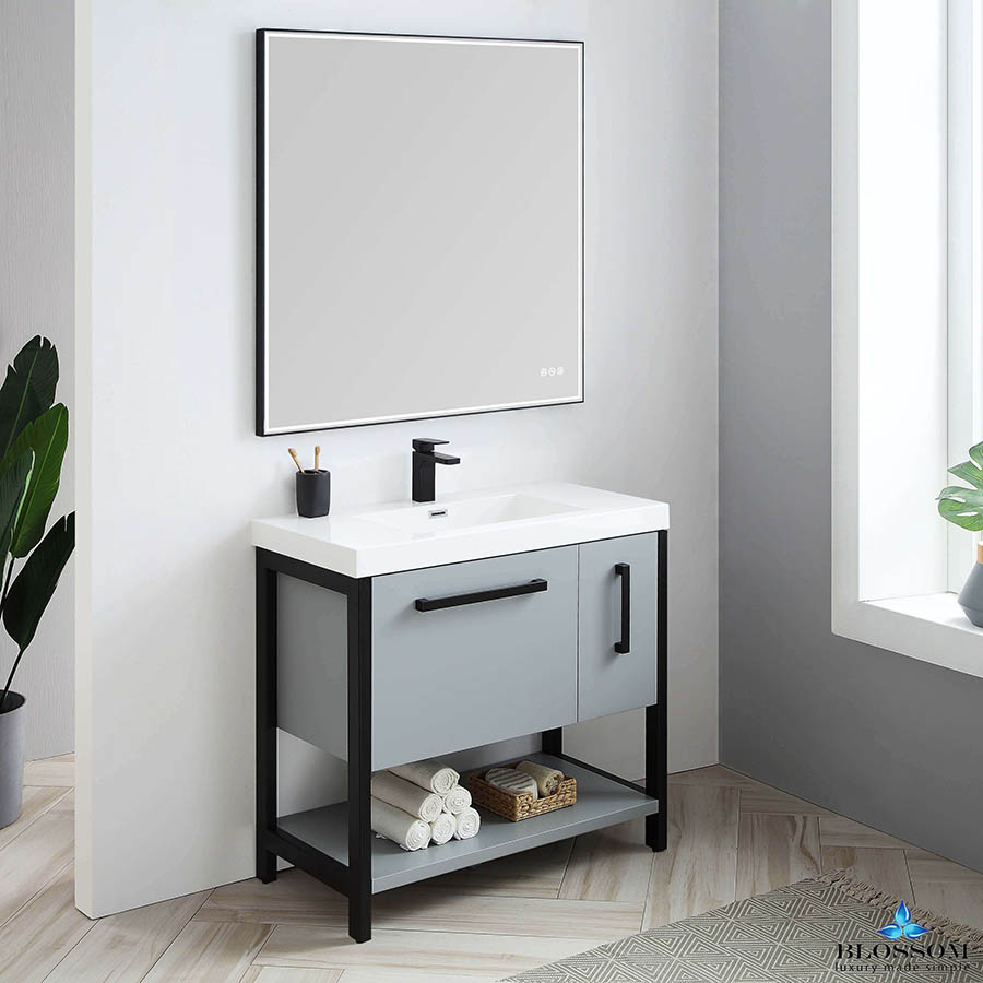 Blossom RIGA 36 Inch Bathroom Vanity Metal Grey