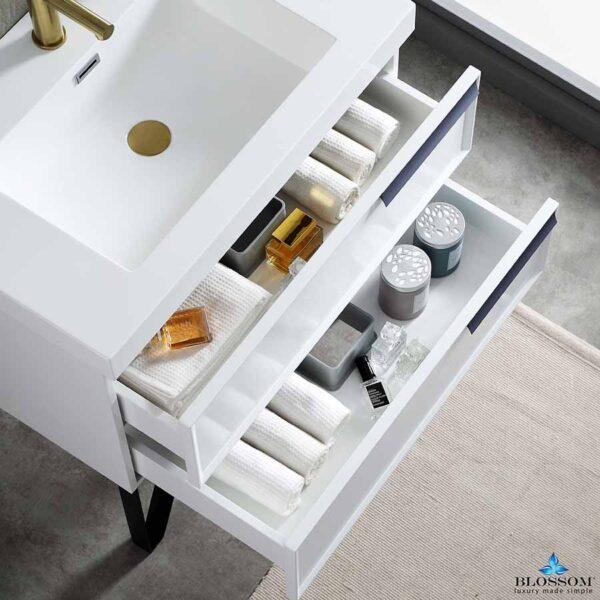 Blossom SOFIA 30 Inch Wall Mount Bathroom Vanity Color Matte White