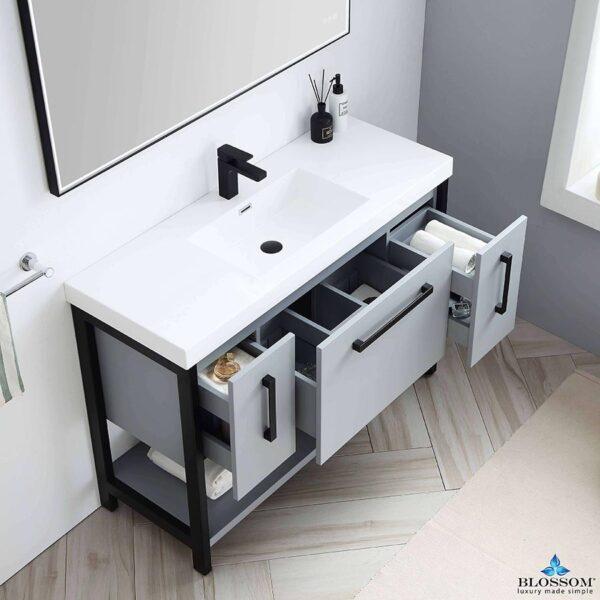 Blossom Vanity ✔️ RIGA 48 Bathroom Cabinet Color Metal Grey Acrylic Top