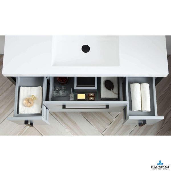 Blossom Vanity ✔️ RIGA 48-In Bathroom Cabinet Color Metal Grey Acrylic Top