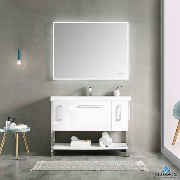 Blossom Vanity ✔️ RIGA 48 Inch Bathroom Cabinet Color Glossy White Acrylic Top