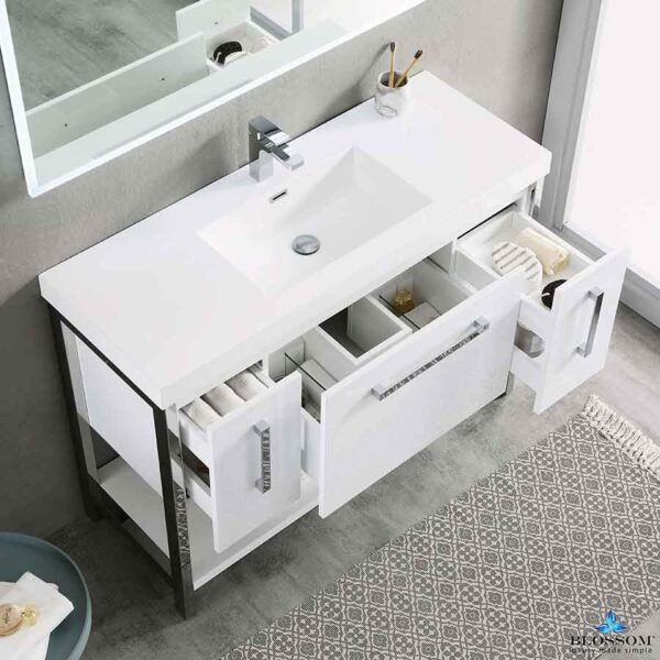 Blossom Vanity ✔️ RIGA 48-Inch Bathroom Cabinet Color Glossy White Ceramic Sink
