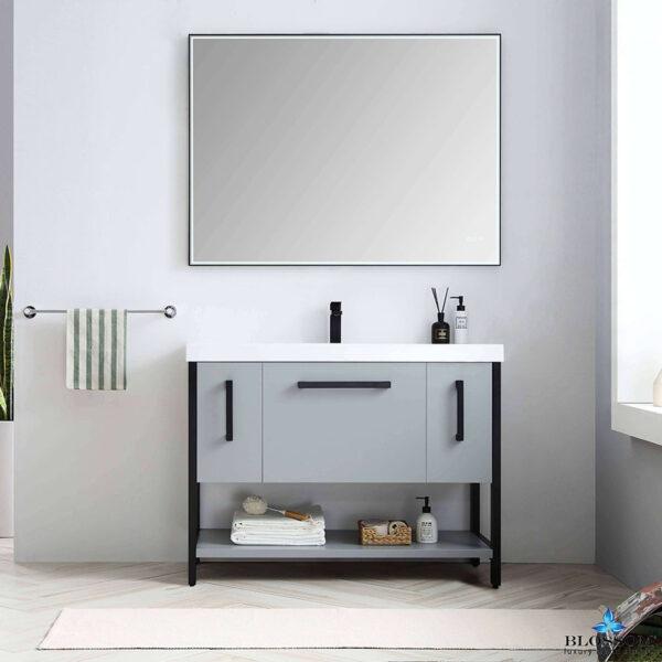 Blossom Vanity ✔️ RIGA 48-Inch Bathroom Cabinet Color Metal Grey Acrylic Top