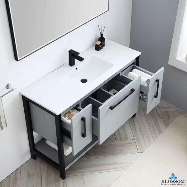 Blossom Vanity ✔️ RIGA 48-Inch Bathroom Cabinet Color Metal Grey Ceramic Top