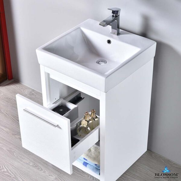 Blossom Vanity 20 Inch ✔️ MILAN Bathroom Cabinet Color Glossy White_