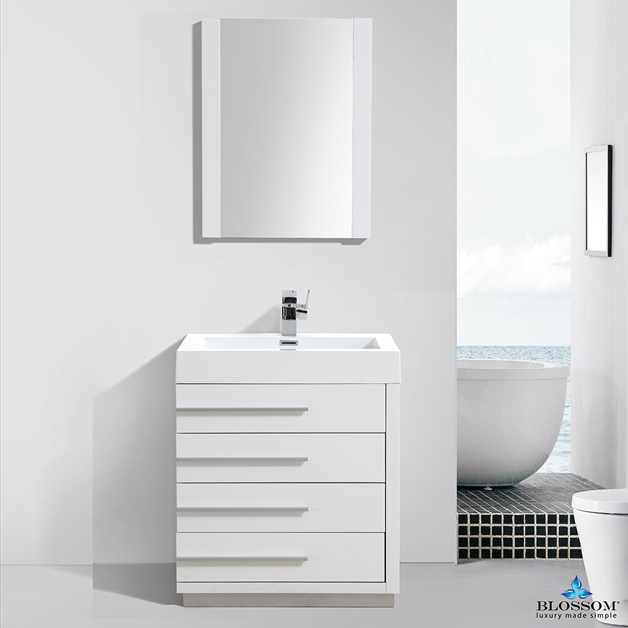 Blossom Vanity Barcelona 30 Inch Color Glossy White Bath Vanity Store