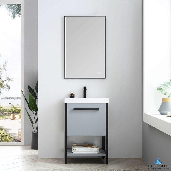 Blossom Vanity Model RIGA 24 Inch Bathroom Cabinet Color Metal Grey