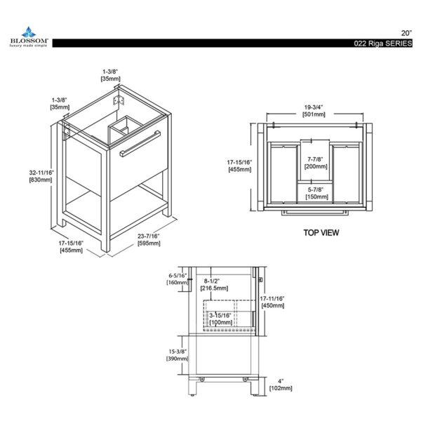 Blossom Vanity ⬜️ RIGA 20-Inch Color Cabinet-Glossy White