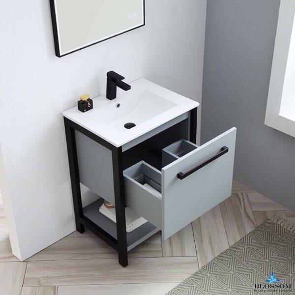 Blossom Vanity RIGA 24 Inch Bathroom Cabinet Color Metal Grey With Ceramic Sink