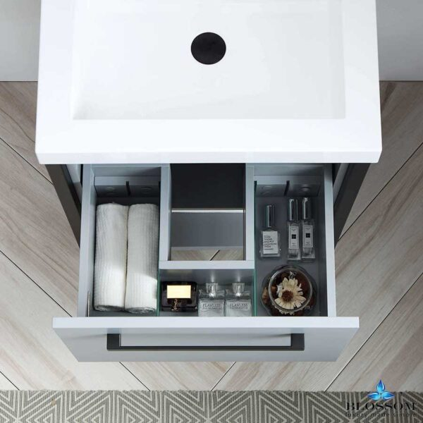 Blossom Vanity RIGA 24 Inch Bathroom Cabinet Color Metal Grey