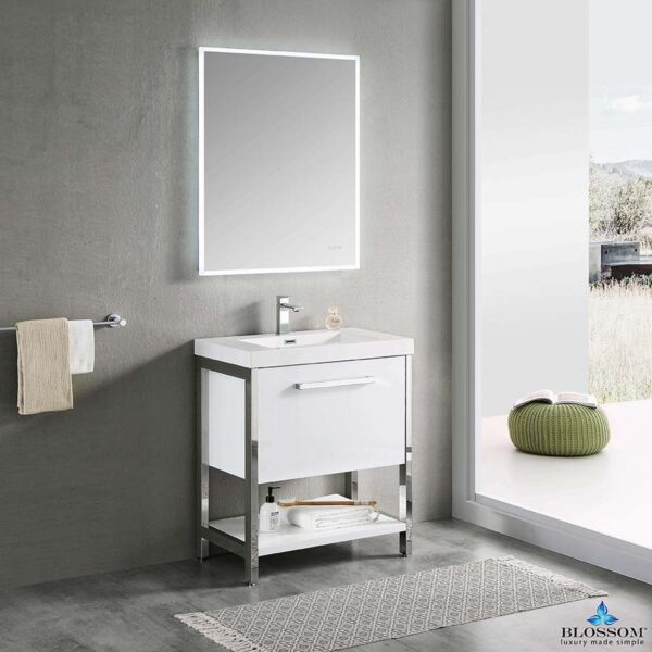 Blossom Vanity RIGA 30 Inch Color Cabinet Glossy White Acrylic Top