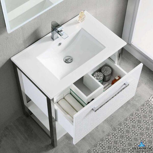 Blossom Vanity RIGA 30 Inch Color Cabinet Glossy White Ceramic Top