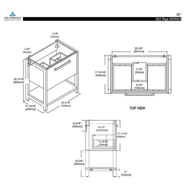 Blossom Vanity RIGA 30-Inch Color Cabinet Metal Grey Acrylic Top