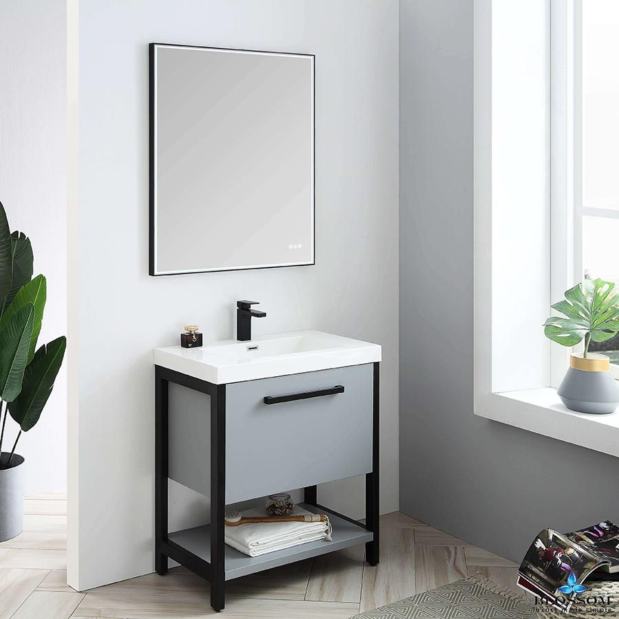Blossom Vanity RIGA 30 Inch Color Cabinet Metal Grey Acrylic Top