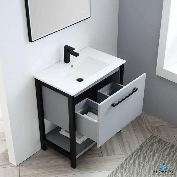 Blossom Vanity RIGA 30 Inch Color Cabinet Metal Grey Ceramic Top