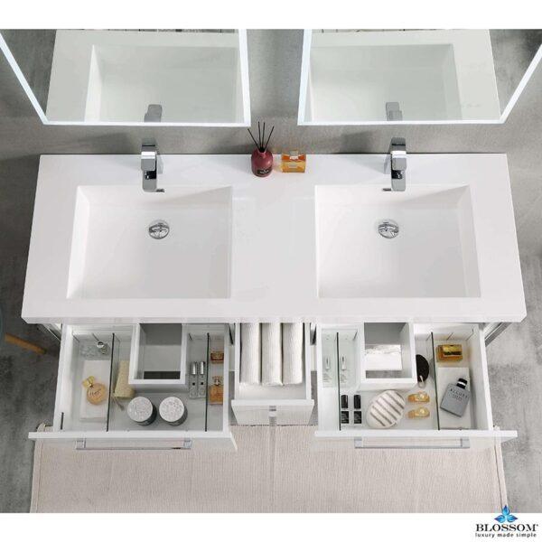 Blossom Vanity RIGA 60 Inch-Double Bathroom Cabinet Color Glossy White