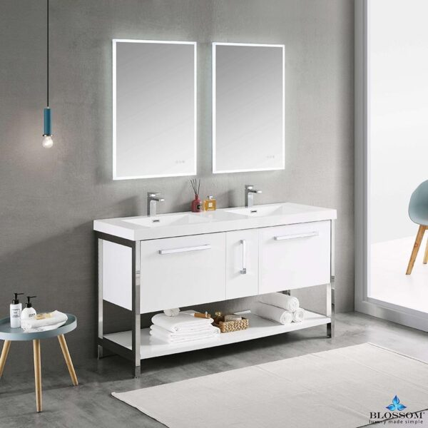 Blossom Vanity RIGA 60-Inch Double Bathroom Cabinet Color Glossy White