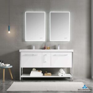 Blossom Vanity RIGA 60 Inch Double Bathroom Cabinet Color Glossy White