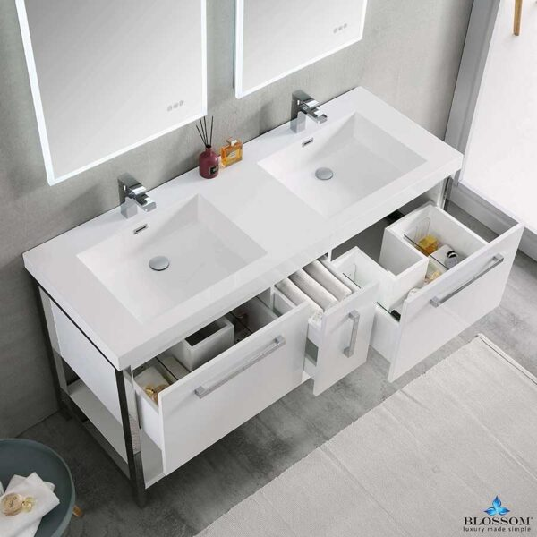 Blossom Vanity RIGA 60 Inch Double Bathroom Cabinet Color Glossy White
