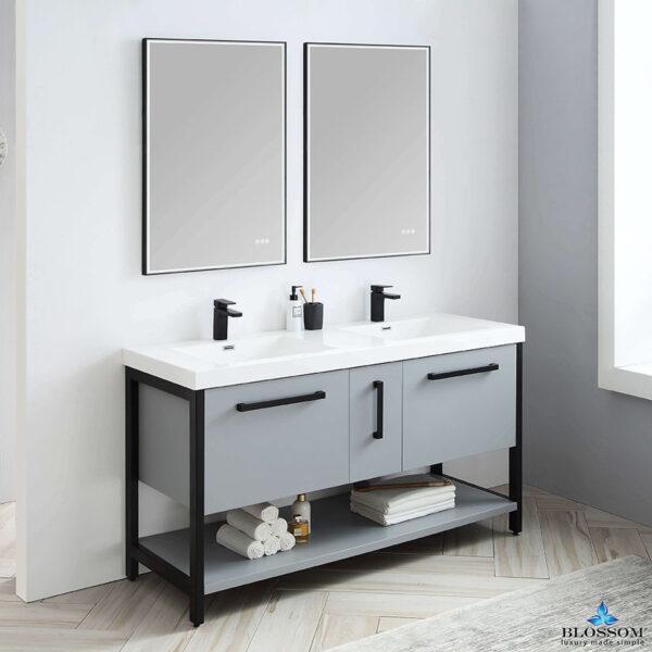 Blossom Vanity RIGA 60-Inch Double Bathroom Cabinet Color Metal Grey