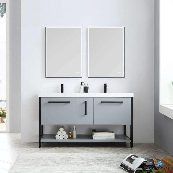 Blossom Vanity RIGA 60 Inch Double Bathroom Cabinet Color Metal Grey