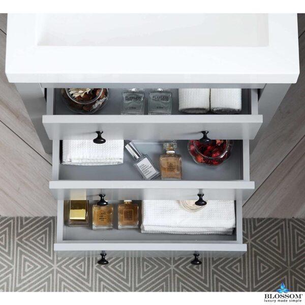 Blossom Vanity YORK 24 Inch Color Matte Grey-Acrylic Sink
