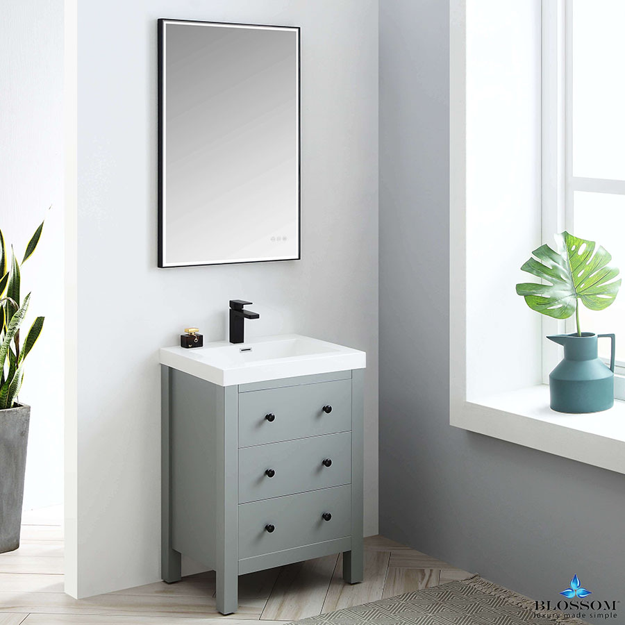 Blossom Vanity YORK 24 Inch Color Matte Grey Acrylic Sink
