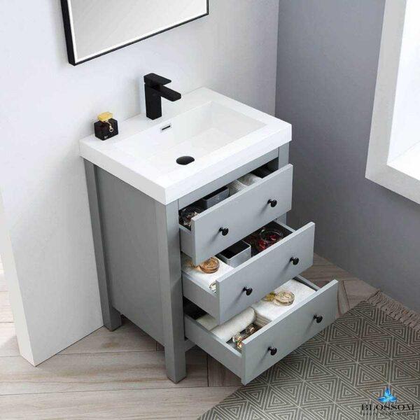 Blossom Vanity YORK 24 Inch Color Matte Grey Acrylic Sink