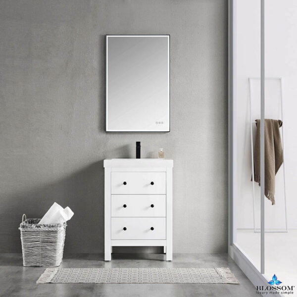 Blossom Vanity ✔️ York 24 Inch Color Matte White Bathroom Cabinet