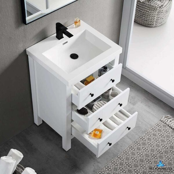 Blossom Vanity YORK 24 Inch Color Matte White Acrylic Sink