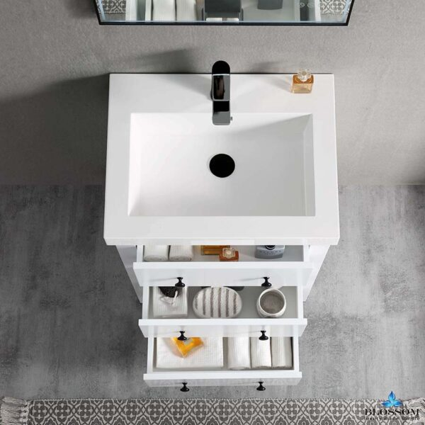 Blossom Vanity YORK 24-Inch Color Matte White Acrylic Sink