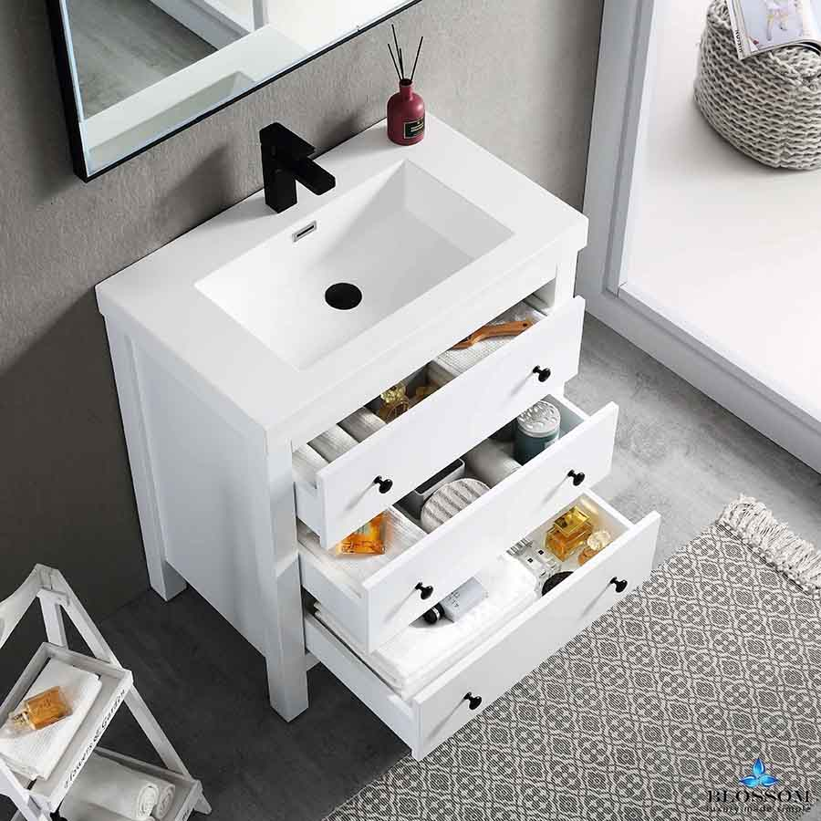 Blossom Vanity YORK 30 Inc Color Matte White Acrylic Sink