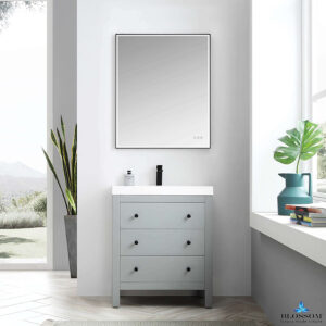 Blossom Vanity YORK 30 Inch Color Matte Grey Acrylic Sink