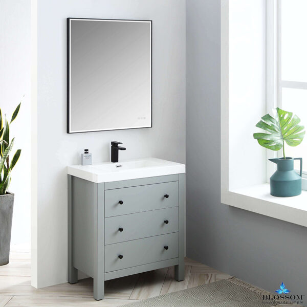 Blossom Vanity YORK 30 Inch Color Matte Grey Acrylic Sink