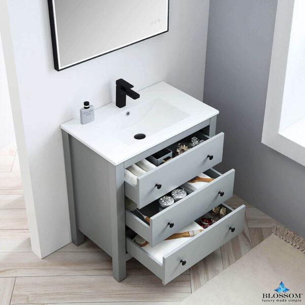 Blossom Vanity YORK 30 Inch Color Matte Grey Ceramic Sink